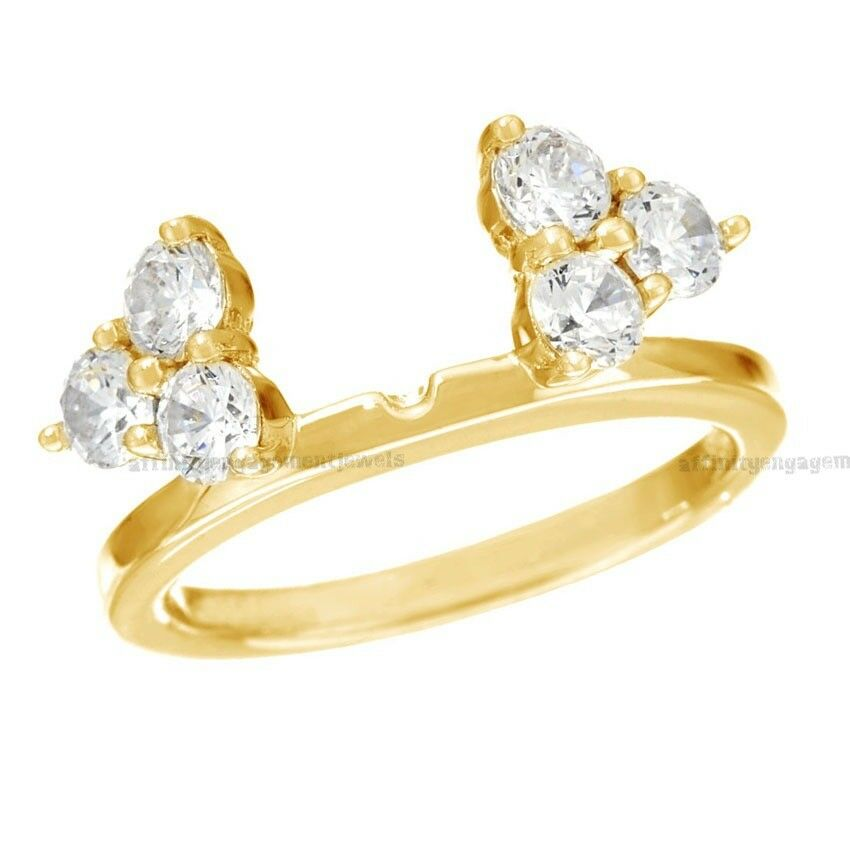 0.90 Ct Round Cut D VVS1 Prong Set Cluster Insert Ring in 14K Yellow gold Finish