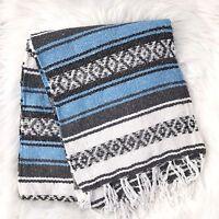 Handmade Mexican Blanket Falsa Beach Summer Blankets Yoga Throw- Light Baby Blue