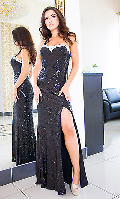 New Ladies Womens Wedding Ball Gown Party Evening Prom Sequinned Maxi Dress