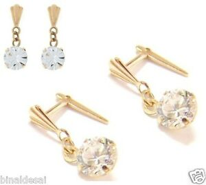 9ct Gold Andralok 5mm Clear Round CZ DROP Dropper Earrings Girls B'Day GIFT BOX