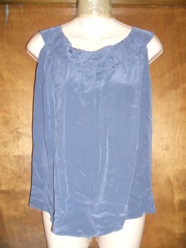 ELLEN TRACY SLEEVELESS 100% SILK Blau TOP SZ 4 NWTGS