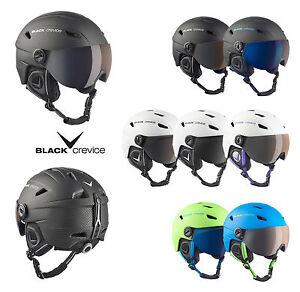 BLACK-CREVICE-Skihelm-Snowboardhelm-mit-Visier-Modell-SILVRETTA-Pilotenstyle