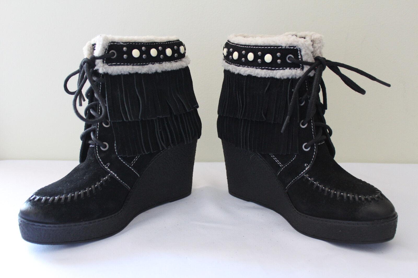 NEW! Sam Edelman Black Suede Leather Fringe Studded Kemper Boots 8.5 M 150