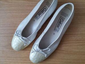 Damen Schuhe Ballerinas Slipper GABOR Gr 39 UK 6 Weite creme beige ... c030e26f81