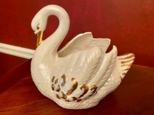 Vintage Mother-of-Pearl Gold Accent Ceramic Swan Planter Hand-painted VTG
