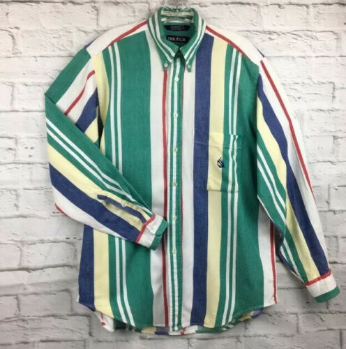 Nautica M shirt striped twill button up vintage 90