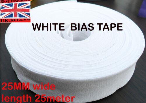 25mm //1 inch WHITE Cotton Bias Binding Tape Folded Trimming Edging 25 meter roll