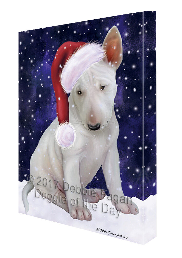 Let it Snow Christmas Holiday Bull Terrier Dog Santa Hat Canvas Wall Art