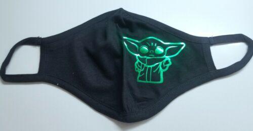Unisex METALLIC Green Baby Yoda Star Wars Logo Adult Face Mask Next Level Brand