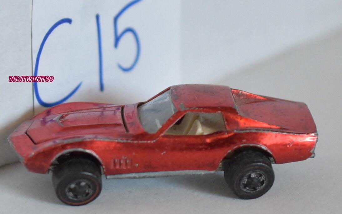 Hot Wheels Vintage Rose rougeline 1968 Personnalisé Corvette Rouge Loose W +