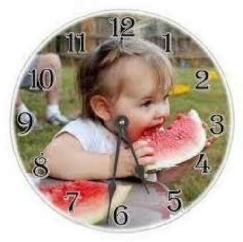Personalised Photo Round Glass.Clock 20 cm