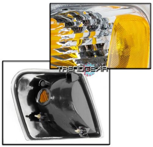 FOR 2001-2005 FORD EXPLORER SPORT TRAC HEADLIGHT HEADLAMP CHROME W//CORNER SIGNAL