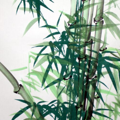 """Chinesisches Rollbild /""""Bambus/"""" grün Bildrolle Hängerolle mit Kalligraphie groß"""