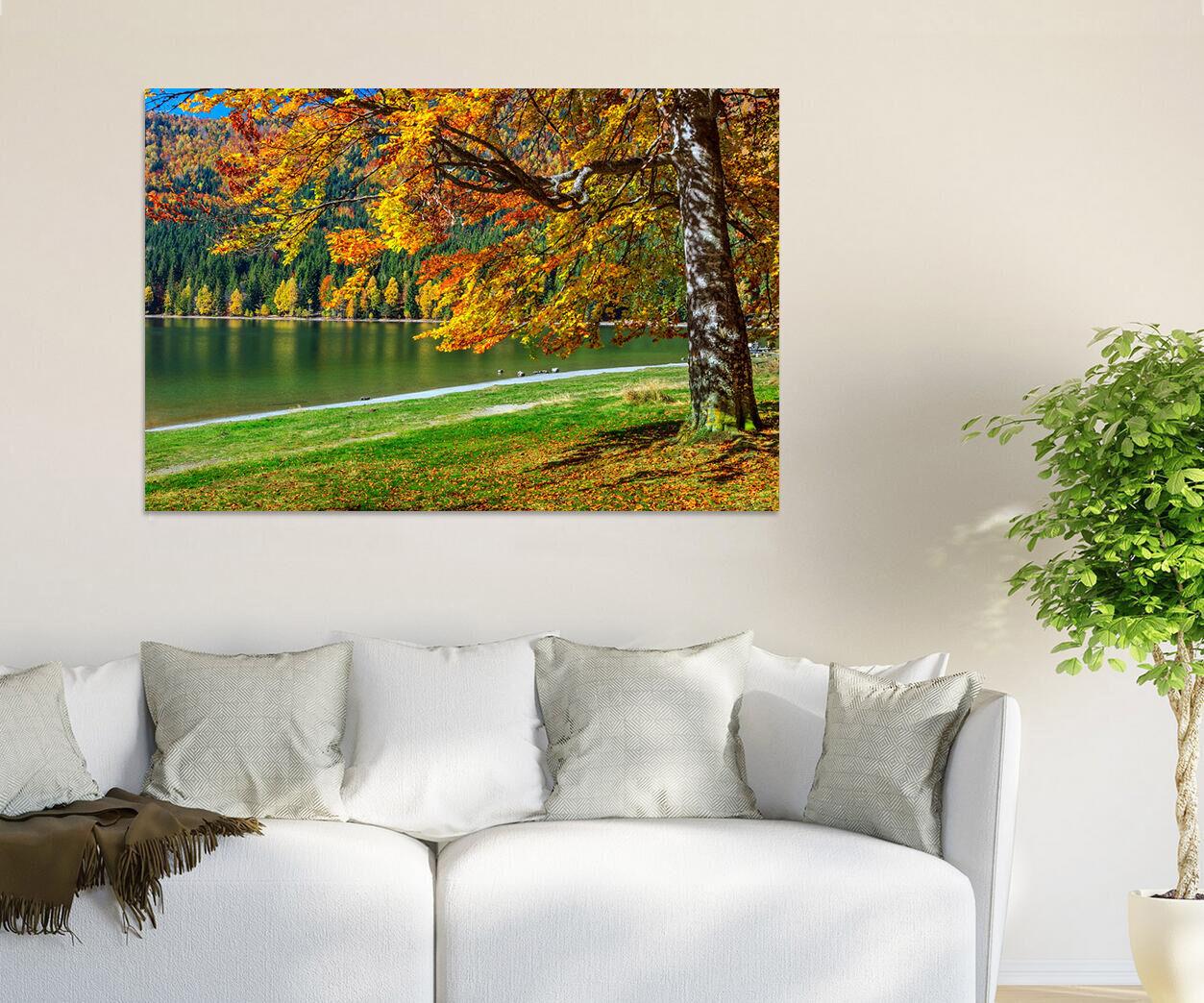 3D Goldener Baum Wiese Fluss 85 Fototapeten Wandbild BildTapete AJSTORE DE Lemon