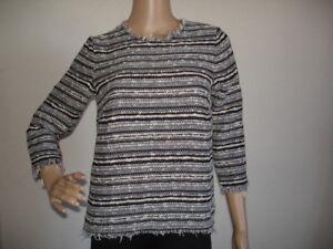 Details zu Mango Damen Jacquard Bluse Gr. XS NEU Streifen Strickpullover Sweat Tunika grau