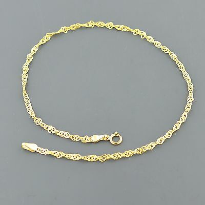 "Dynamic 10k Yellow Gold 2.3mm 10"" Twisted Singapore Anklet Free Shipping And Gift Box Fine Jewelry Fine Anklets"