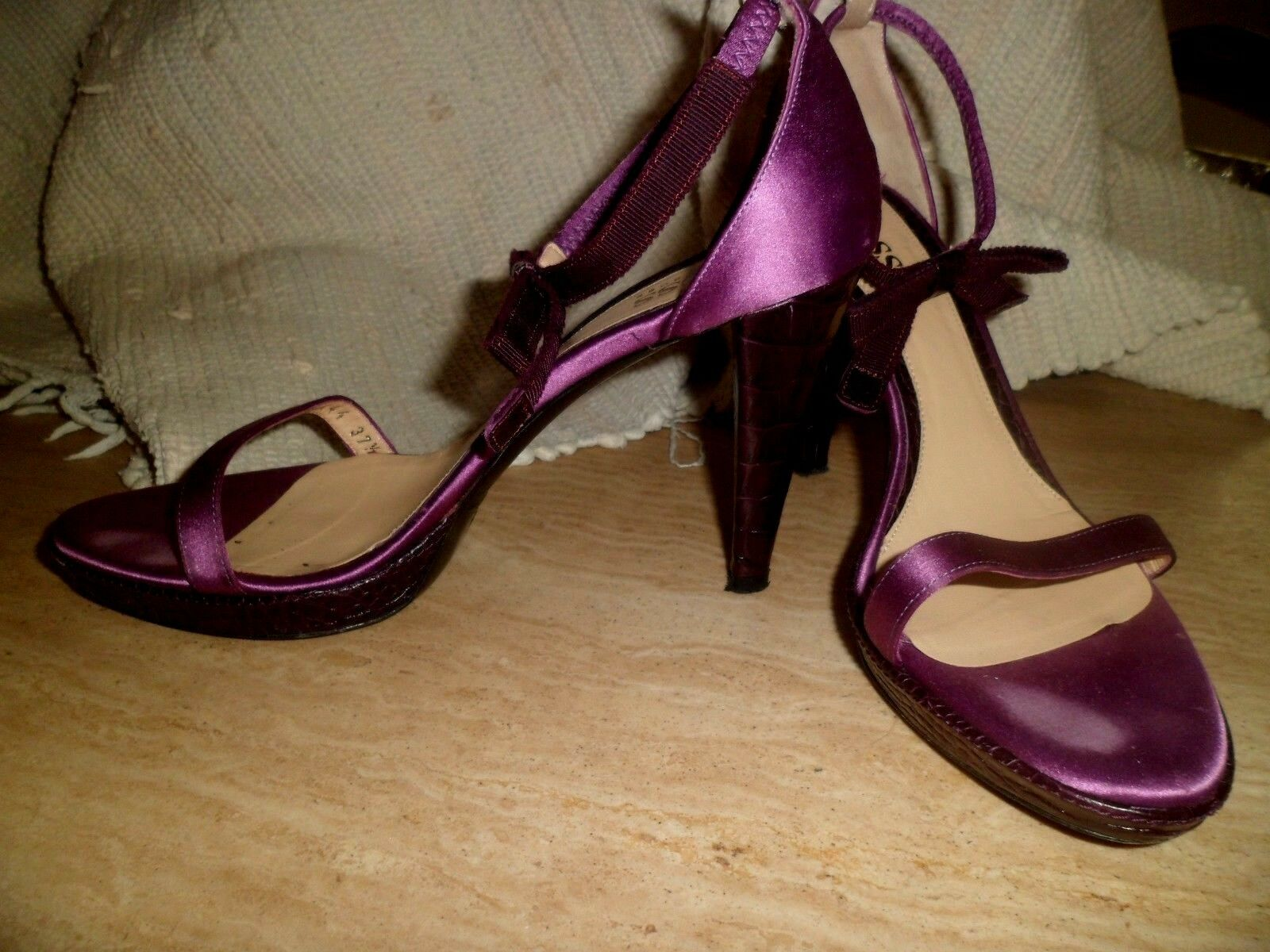 Hugo Boss Peep Toe Ankle Bow Heels Satin & lila Leather in lila & EU 37.5 UK 4.5 b24b60