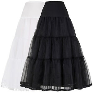 Women-s-Vintage-Crinoline-Petticoat-Underskirt-Tutu-Party-Hoopless-Tulle-Black