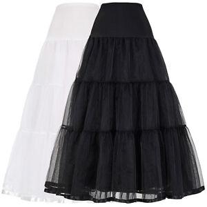 Women-s-Vintage-Crinoline-Petticoat-Underskirt-Tutu-Party-Hoopless-Tulle-Black