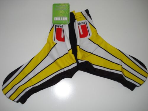 New SYSTEME U Team Yellow Cycling Road Bike Lycra Shoe Covers size 10-12
