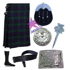 Intelligent Écossais Noir Montre Tartan 5 Yard Kilt 13 Oz,chardon Sporrans 7 Pièces Ensemble Belle Et Charmante
