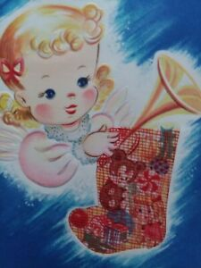 1940-50s-Angelic-GIRL-w-Mesh-Net-CHRISTMAS-STOCKING-w-TOYS-Vtg-GREETING-CARD
