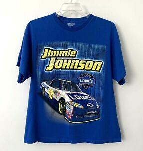 Jimmie Johnson 48 Nascar Racing T Shirt Lowe's Big Print Blue Mens XL