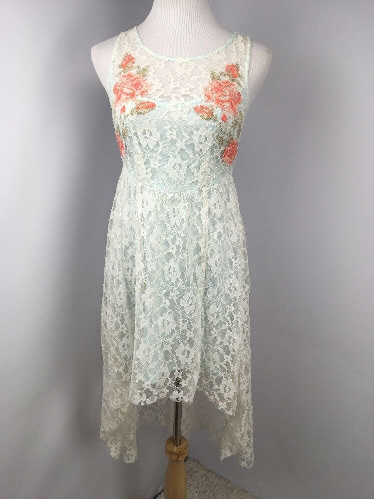f9dc70a8d24 FREE PEOPLE BEAUTIFUL DREAMER LACE DRESS bluee Embroidered pink Boho High  Low