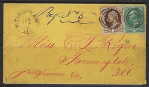 Ee. Uu. 1881 Pleasant Plains Ill Elegante Objetivo Cancelado Atado 10c Más 3 ¢ A