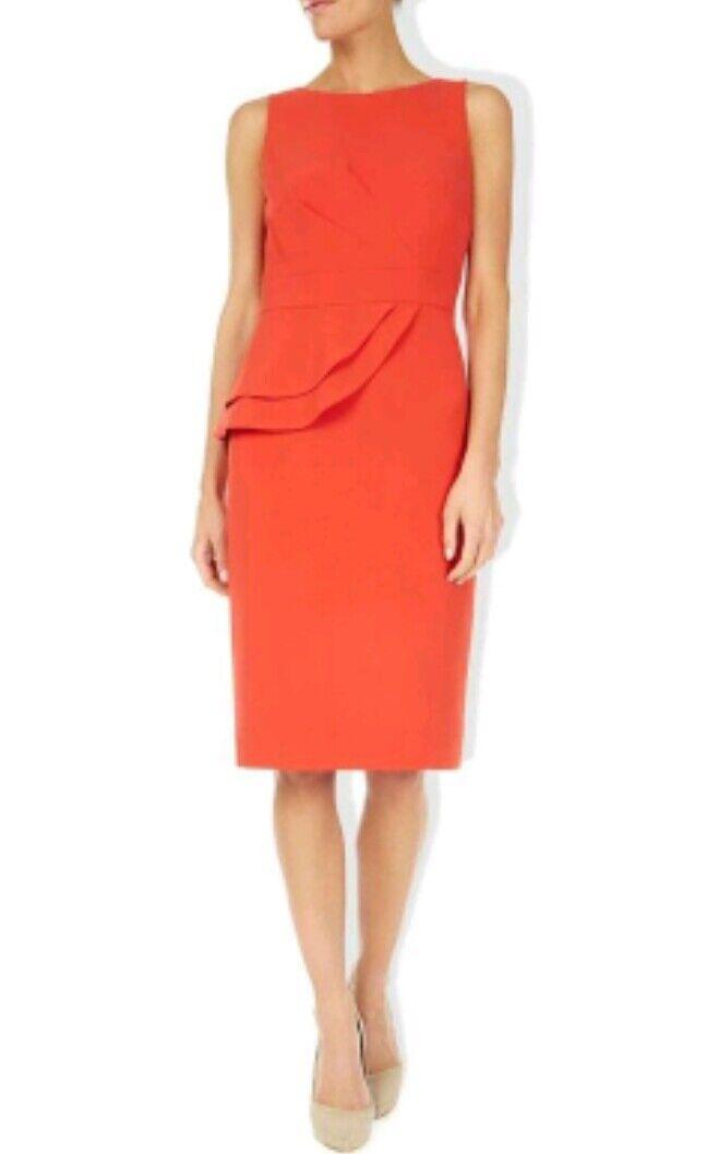 HOBBS Invitation Avedon shift dress size 10 --MINT-- knee length orange