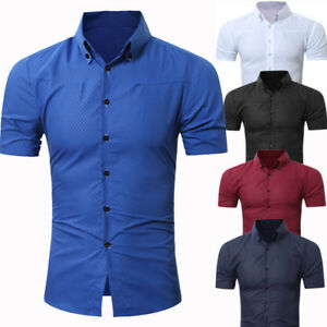 9601ab4f9 Mens Short Sleeve Shirts Casual Formal Slim Fit Shirt Top much size ...