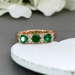1Ct-Round-Cut-Green-Emerald-Half-Eternity-Band-Engagement-Ring-14K-White-Gold-FN