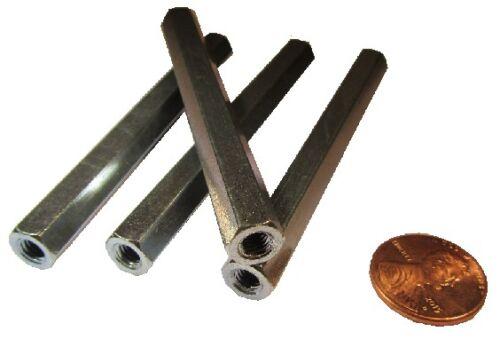 Zinc Plate Steel Female Threaded Standoff, 5/16 Hex, 3.0 Length, 10-32, PT, 4pcs