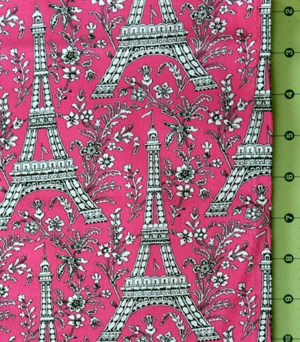 Paris Eiffel Tower Floral Black White on Hot Pink Michael Miller Chic Shabby FQ