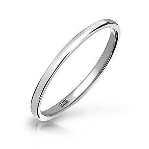 solid 925 sterling silver plain 2mm thin band