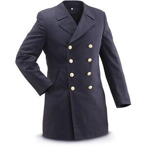 plus de photos e0adf 19f52 Détails sur Homme militaire boutonnage double grand manteau veste vareuse  gabardine naval laine- afficher le titre d'origine