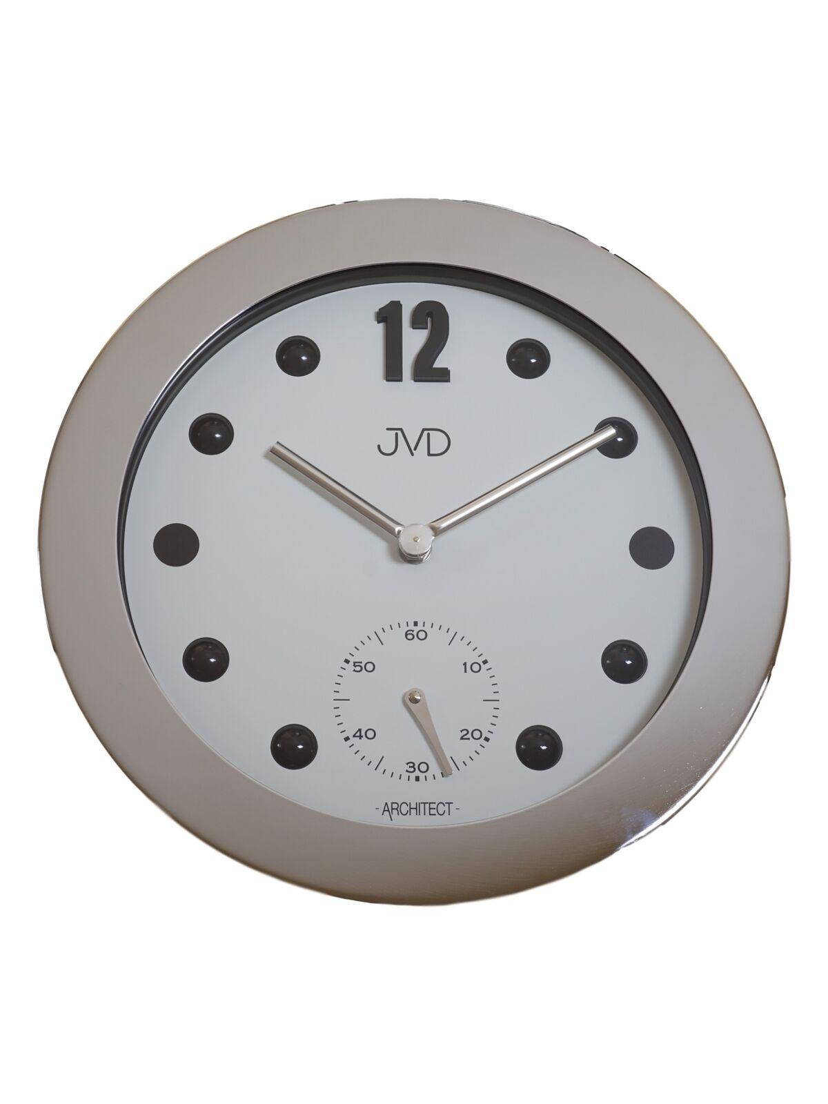 JVD HC07.1 Wanduhr Quarz Analog Metall mit Glas Rund in silver farben