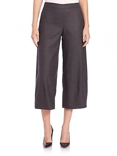 L Eileen Fisher Charcoal Heathered Stretch Flannel Twill Wide Crop Lantern Pants