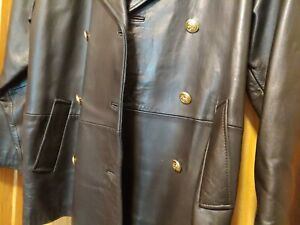 Lord & Taylor Petites Women's Black Leather Jacket sz14 Gold anchor buttons