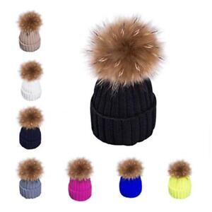 e2b9e2c309adb Women Winter Large Racoon Fur Pom Ball 15cm Ball Knit Beanie Ski Cap Bobble  Hat
