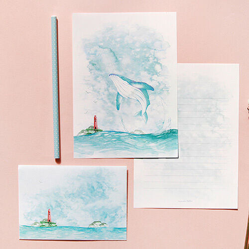 1x Water Color Letter Set 4sh Writing Stationery Paper 2sh Envelope 2p Sticker