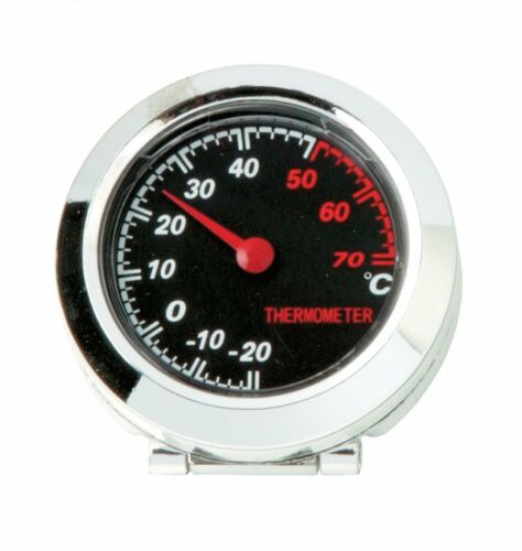 In Car Dashboard Chromed Thermometer Temperature Tilted Gauge Dial Self Adhesive