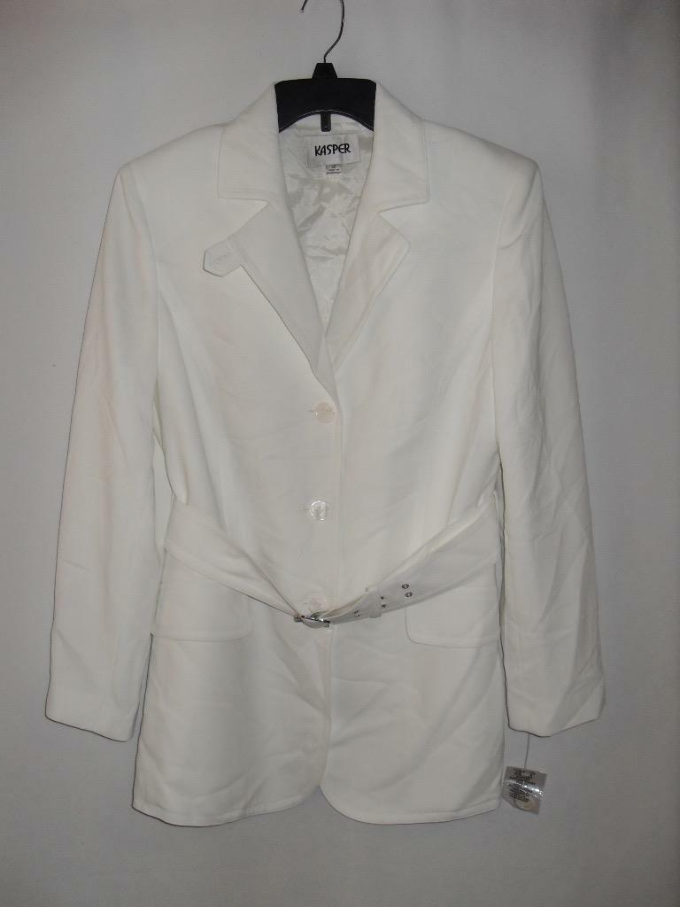 New Women's Kasper Long Blazer Coat- color  White - Size  12P - NWOT
