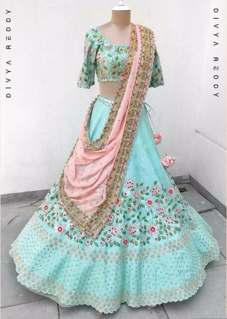763ce232a9 WEDDING WEAR DESIGNER INDIAN WOMEN CHOLI LEHENGA BRIDAL PARTY LENGHA  PAKISTANI