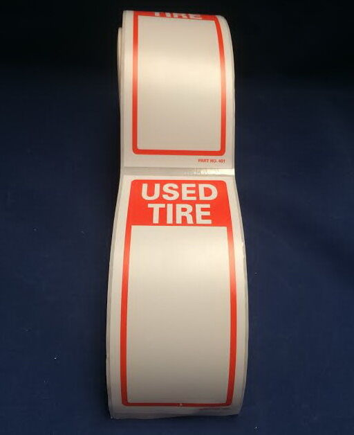 """Tire Label - USED TIRE  1 ROLL OF 250 STICKERS 6"""" X 2.5"""" (150mm x 63.5mm)"""