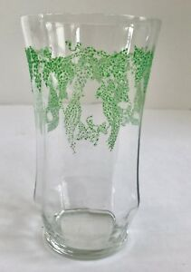 Rare Depression Glass 12 Oz Glass with Hand Painted Green ...