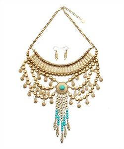 Stunning-Turquoise-and-Gold-Tone-Statement-Fashion-Necklace-and-Earring-Set