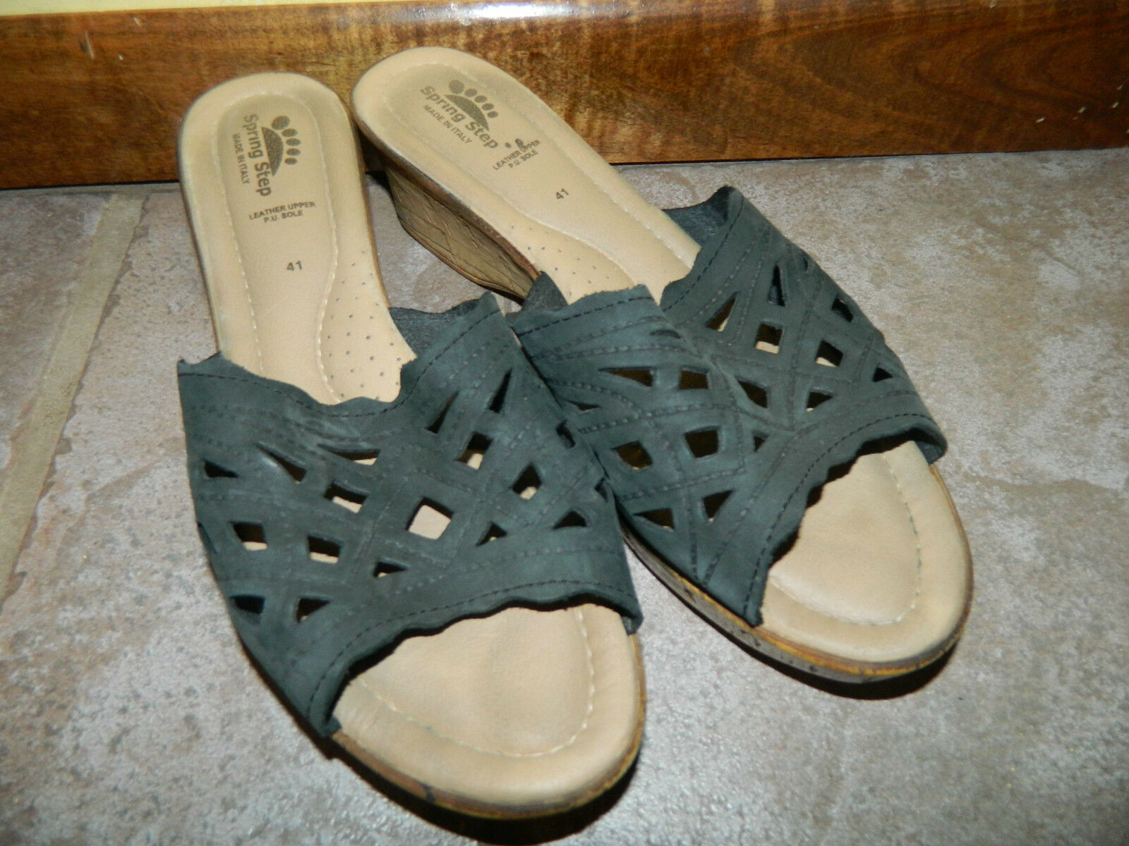 Navy Blue Weave Spring Step Cork Leather Sandals Made in Italy Leather Cork size 41 10 Medium d87d5d