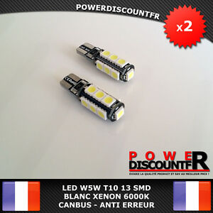2-Veilleuses-LED-W5W-T10-Canbus-ANTI-ERREUR-ODB-Blanc-Pur-XENON-13-SMD