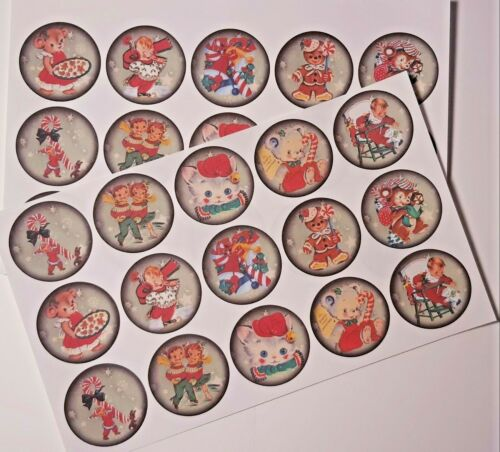 30-90 UNCUT EDIBLE WAFER CUP CAKE TOPPERS RETRO CHRISTMAS FUN CANDY CANE CUTE